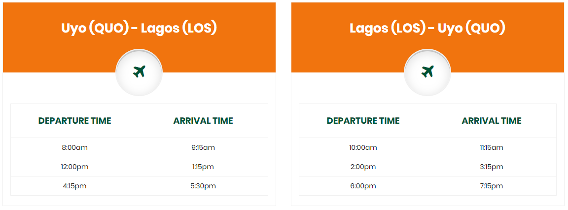 Ibom Air Dec 21st and 22nd_2019 schedule