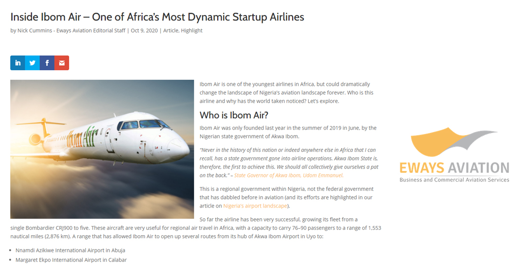 Ibom Air – One of Africa's Most Dynamic Startup Airlines